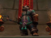 An equipped Pandaren in a temple in World of Warcraft: Mists of Pandaria