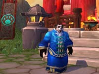 A Pandaren dressed in fine garments in World of Warcraft: Mists of Pandaria