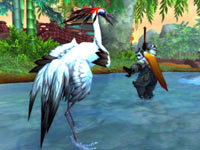 A Pandaren assuming a fighting stance against a crane in World of Warcraft: Mists of Pandaria