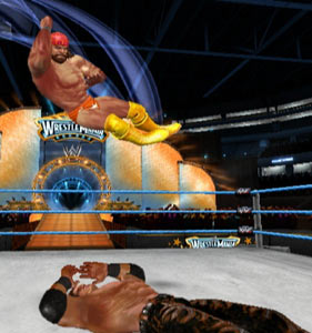 Macho Man laying down a flying elbow in WWE All-Stars for PS2