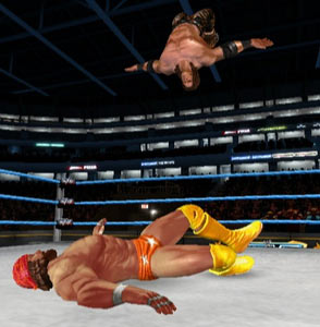 Macho Man Randy Savage getting hammered off the ropes in WWE All-Stars for PSP
