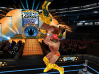 Macho Man Randy Savage going for a slam off the ropes in WWE All-Stars for PS2