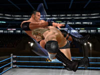 Triple H tackling The Rock in WWE All-Stars for Wii