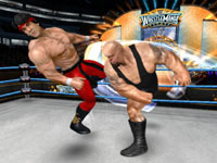 Big Show pounding Ricky 'The Dragon' Steamboat in WWE All-Stars for Wii