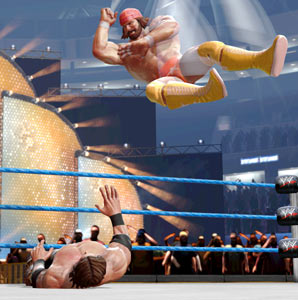 Macho Man Randy Savage flying high to dish out an elbow in WWE All-Stars