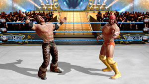 Macho Man Randy Savage and Morrison jawing in the center of the ring in WWE All-Stars