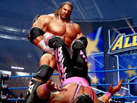 Triple H setting Brett Hart up for a submission in WWE All-Stars