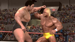 Andre the Giant fighting Hulk Hogan in 'WWE Legends of WrestleMania'