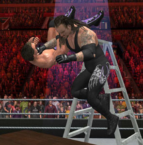 A huge choke slam by the Undertaker in WWE SmackDown vs. Raw 2011