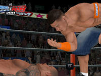 John Cena taunting a downed opponent in WWE SmackDown vs. Raw 2011