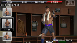 Character customization in the locker room in WWE SmackDown vs. Raw 2010