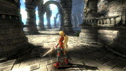 Ayumi exploring an expansive in-game environment in 'X-Blades'