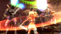 Ayumi in hack 'n slaash action in 'X-Blades'