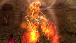 Ayumi unleashing a fire spell in 'X-Blades'