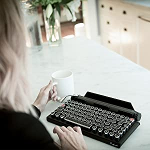 qwerkywriter s typewriter inspired retro mechanical wired wireless keyboard with. Black Bedroom Furniture Sets. Home Design Ideas