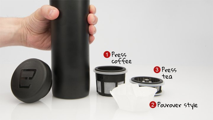 Espro Stainless Steel 12 Ounce Travel Press with Coffee and Tea Filters, Matte Black