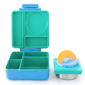The bento lunch box tray is shallow with rounded edges so kids can scoop food out easily.  sc 1 st  Amazon.com & Amazon.com: OmieBox Bento Lunch Box With Insulated Thermos for ... Aboutintivar.Com