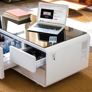 Amazon Com Sobro Soctb300whbk Coffee Table With Refrigerator Drawer