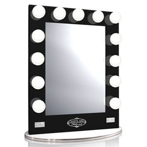 white vanity girl broadway lighted vanity mirror with 2 outlets a. Black Bedroom Furniture Sets. Home Design Ideas