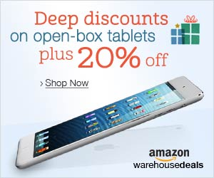 amazon.com warehouse deals deep discounts on open box tablets plus additional 20% off iPad Samsung galaxy tab iPad air