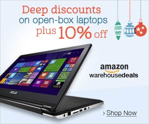 deep discounts on open box laptops plus additional 10% off already discounted laptops at Amazon.com warehouse deals