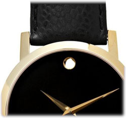 amazon com movado men s 606086 museum black genuine leather strap slip a true classic onto your wrist this gold tone movado museum stainless steel swiss quartz watch for men which features the utterly recognizable