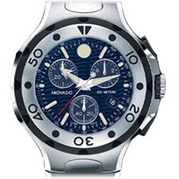 4751d192b This Movado Series 800 stainless steel, Swiss chronograph for men has a  large, round watch case that's topped by a perfectly circular  unidirectional ...