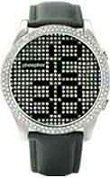 Phosphor men's Appear watch with Swarovski Crystal face, metal finish inlaid with crystal and a black wrist band