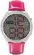 Phosphor Women's Appear watch with Swarovski Crystal face and a hot pink wrist band