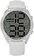 Phosphor Women's Appear watch with Swarovski Crystal face and a white wrist band