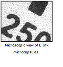 Microscopic view of E Ink microcapsules.