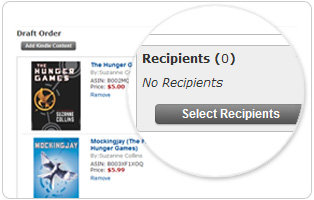 Select recipients from your Cart in the Kindle Store