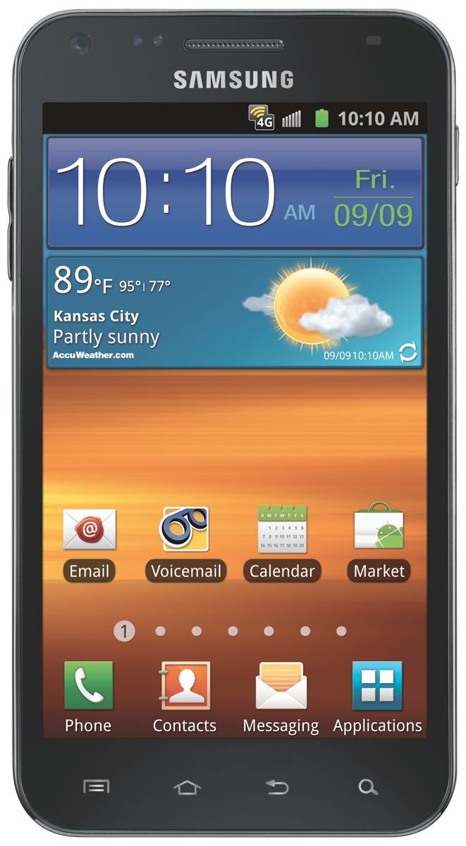 The Samsung Epic 4G Touch with brilliant 4.52-inch Super AMOLED Plus