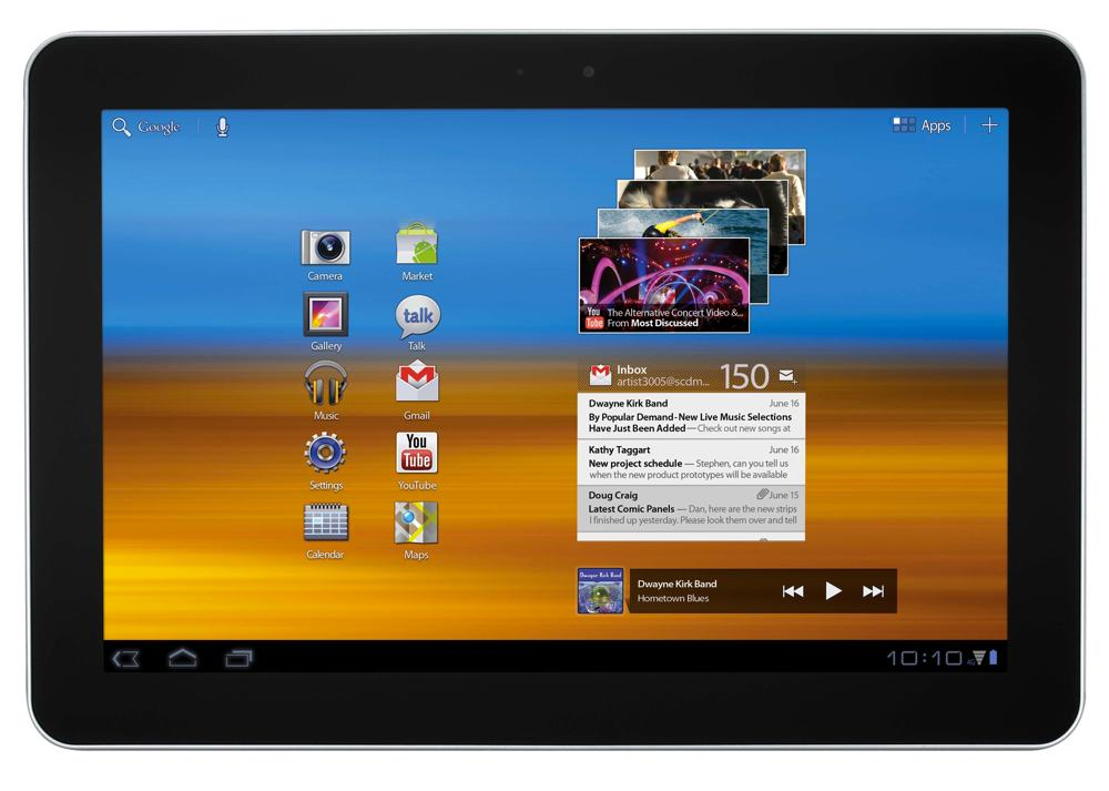 The 4G-enabled Samsung Galaxy Tab 10.1 with Android 3.1 Honeycomb OS