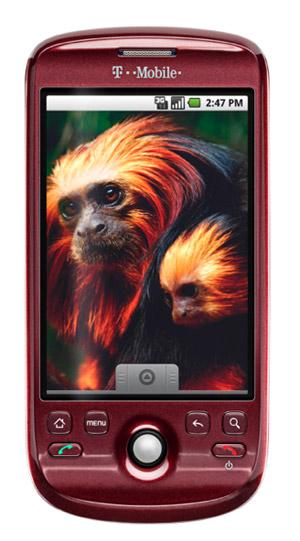 The T-Mobile myTouch 3G in merlot red