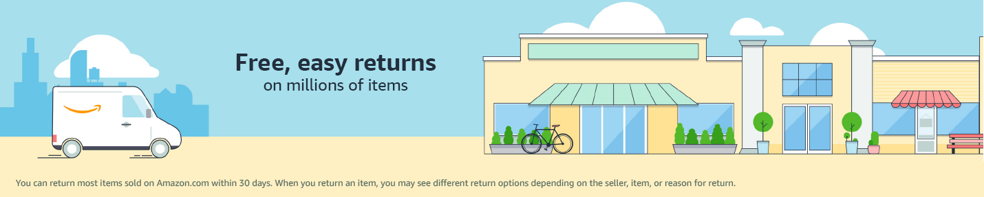 Free, easy returns on millions of items at over 18000 drop-off locations