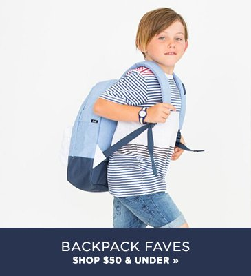 Promo1: Shop backpacks under $50 for boys