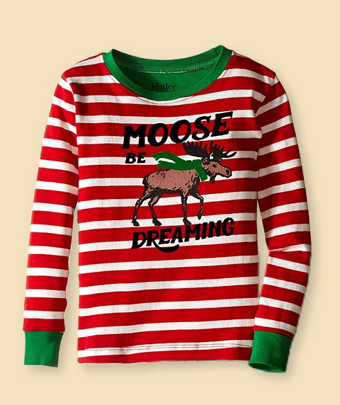 Kids Gifts. Image of a red and white striped pajama top.