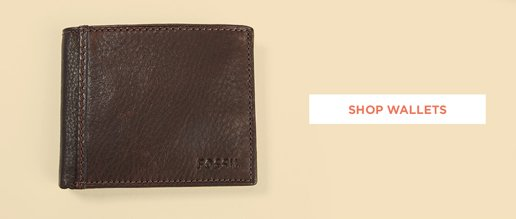 Shop Wallets. Image of a brown leather wallet.