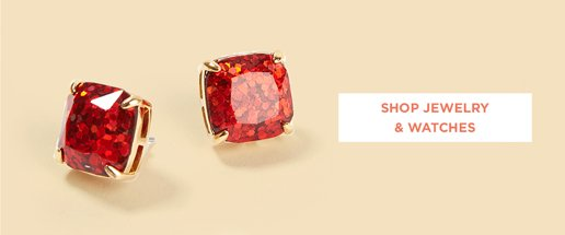 Shop Womens Jewelry. Image of red stone stud earrings.