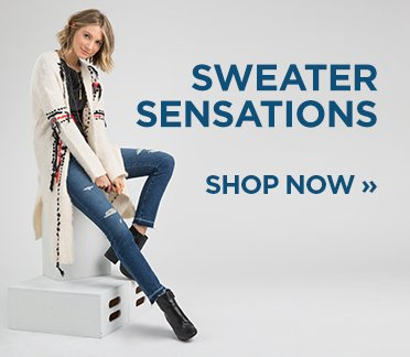 sp-1-Sweaters-1-18-2017 Sweater Sensations. Shop Now. Image of a woman in a cream long cardigan.