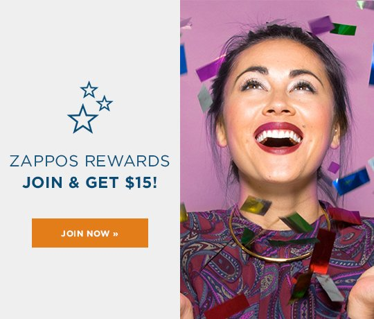 Hero-1-Loyalty-20-10-2016 Zappos Rewards. Join now and get $15. Learn More. Image of a woman smiling surrounded by confetti