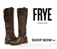 sp-2-FRYE-27-11-2016 FRYE logo. Image of a brown riding boot. Shop Now.
