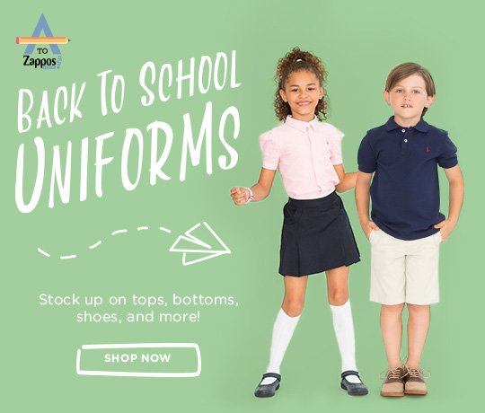 Back To School Uniforms. Stock up on tops, bottoms, shoes, and more! Shop Now