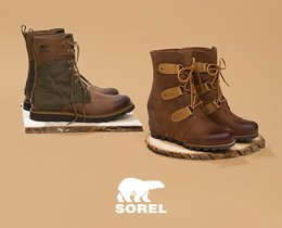Sorel Shop Now. Image of two Sorel Boots.