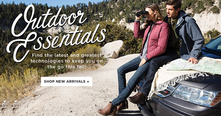 Hero-1-OutdoorNewArrivals-3-10-2016 Outdoor Essentials. Find the latest and greatest technologies to keep you on the go this fall. Shop New Arrivals.