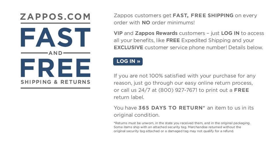 Shipping And Returns Zapposcom - Free invoices online printable women clothing stores online