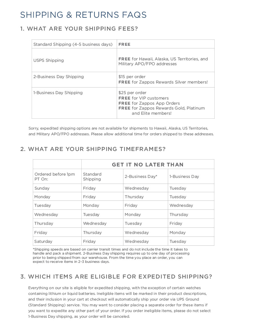 Shipping and Returns FAQ