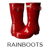 Rain Boots, Image of a red Hunter rain boot.