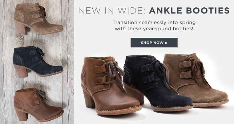 Hero-1-NewInWide-1-9-2017 New In Wide. Ankle Booties. Transition seamlessly into spring with these year round booties!